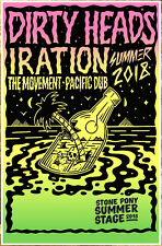 DIRTY HEADS IRATION Summer Tour 2018 Ltd Ed RARE Poster THE MOVEMENT PACIFIC DUB
