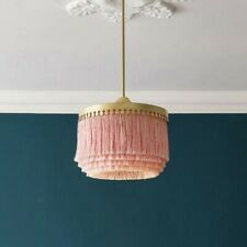 Pink Fringe Haning Pendant Light Modern Living Room Tassel Ceiling Lighting Gold
