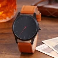 Fashion Sport Stainless Steel Round Case Leather Band Quartz Analog Wrist Watch