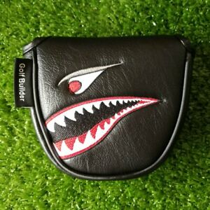 Black PU Shark Embroidery Golf Club Mallet Putter Head Cover Magnetic Closure