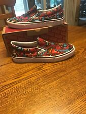 Vans X Marvel Spiderman Mens Size 12 Classic Slip On Skate Shoes