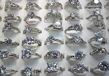 Neuf LOT DE 25PCS bague clair plaqué argent  zircon Femme populaire charme rings