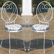 Coppia di sedie shabby-chic giardino in ferro battuto con cuscini rigati inclusi