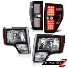Ford F150 09-14 STX/FX4/XL Black Diamond Cut Headlight+LED Tail Light Brake Lamp