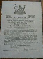1797 REP. CISALPINA MILITARIA MODENA REGGIO MIRANDOLA CARPI CORREGGIO SASSUOLO