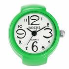 8 Colors Alloy Elastic Band Ring Watch Finger Women Quartz Analog Wristwatch
