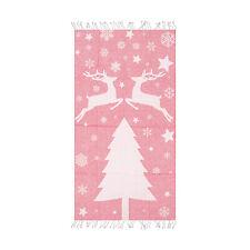 Deer Beach Towel - 100% Cotton 39 x 70 Pink Soft Lightweight Bath Towel