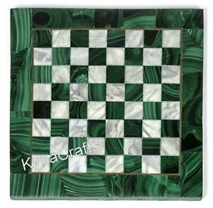 Green Marble Coffee Table Top Chess Design Sofa Side Table for Home 13 Inches
