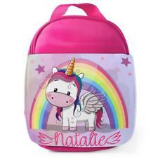 Personalised Lunch Bag CUTE UNICORN Pink School Girls Kids Childrens Box KS106