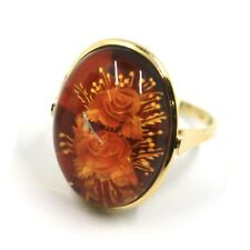 SOLID 18K YELLOW GOLD RING, CABOCHON CENTRAL OVAL AMBER ENGRAVED ROSES FLOWERS