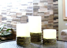 LED Flameless 3pc.Hand Woven Rope Design Candle Set W/ Remote. Christmas, Etc.