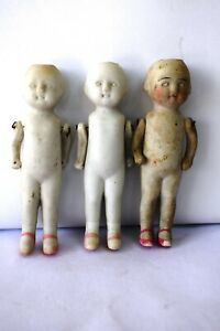 """Antique Jointed German Bisque Doll Porcelain Dollhouse Frozen doll Collectible""""F"""