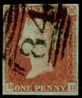 SG9, 1d pale red-brown, FINE USED. Cat £40. 4 MARGINS. DD
