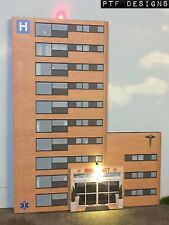 """O Scale Scratch Built """"HOSPITAL"""" Building Flat LED First Responders - MTH Lionel"""