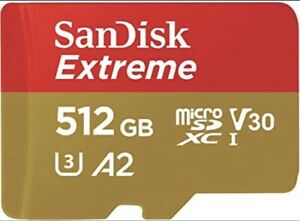 SanDisk Extreme 512 GB microSDXC Speicherkarte inkl. Adapter