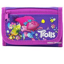 Disney Trolls Authentic Licensed Canvas Trifold Purple Wallet for Children