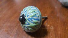 Hand-made Hand-painted Ceramic Drawer Knob - White & blue design - S38