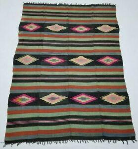 Vintage Handmade Traditional Oriental Red Pink Part Kilim Rug Carpet 228x165cm