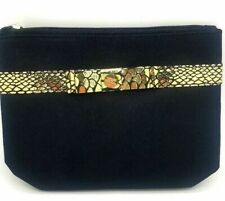 Avon MAKE UP BAG / COSMETIC PURSE Black with Gold Bow Detail Gift Present NEW