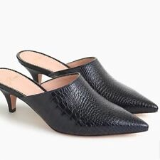 J CREW Pointy Toe Mule Kitten Croc-emobossed leather Deepest Navy Black 8 NIB