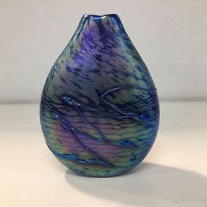 Stunning 1992 Alan Fox Iridescent Blown Glass Pillow Vase Australian Glass #655