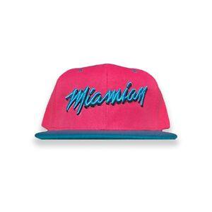 Miamian Pink Blue 305 Miami Dade County Black Snapback Hat Baseball Men Women