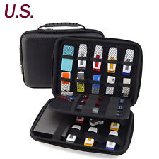 Large Capacity Carrying Case Leather Bag for Mobile Drive,Cards,USB Flash Drives