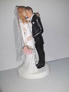 Caucasian Brown hair Groom Blonde Hair Bride Wedding 7 inch Cake ake Topper