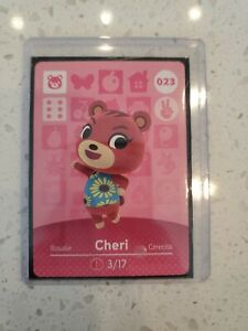Cheri #023 Never Scanned Animal Crossing Amiibo Card in Sleeve and Top Loader