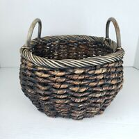 """Vintage Woven Coiled Twisted Basket Planter Two Handles 11"""" × 7"""" Boho Jungalow"""