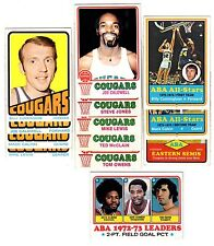 1972 and 1973 Topps CAROLINA COUGARS ABA team sets--B.Cunningham!!