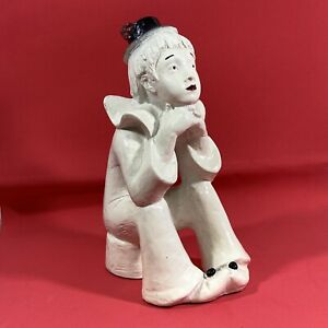 Vintage Austin Prod Thinking Boy Clown With Black Hat Sculpture 1980 Ceramic