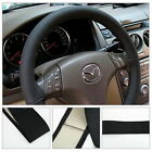 DIY Leather Car Auto Steering Wheel Cover With Needles and Thread Black#X