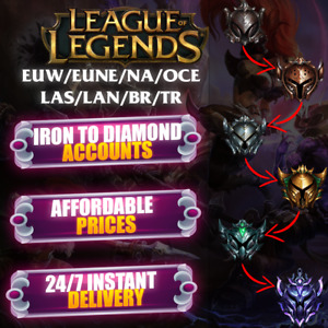 League of Legends EUW NA EUNE OCE LAS LAN BR TR LOL Account Ranked Ready Inactiv
