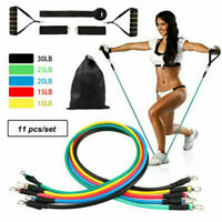 11Pcs Resistance Bands Set Yoga Pilates Fitness Exercise Workout Tube Kit W/ Bag