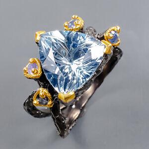 Fashion Art women Blue Topaz Ring Silver 925 Sterling  Size 8.5 /R177791