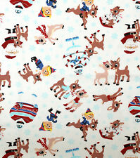 RUDOLPH RED NOSED REINDEER SANTA  PRINT 100% COTTON FABRIC  BY THE 1/2 YARD