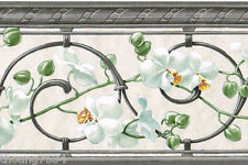 Grey Scroll White Orchid on Peal Satin Shimmer Flower Floral Wall paper Border
