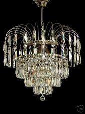 Kronleuchter mit herrlichem rechteckigem Kristall Silber- Chromfarben 6 Brennst.