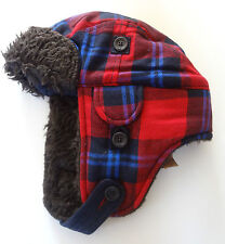 NWT HOLLISTER  Plaid FUR Lined So Cal Hat Trapper Bomber Mens Beanie