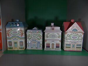 1991 The Lenox Village Set Of 4 Canister Set (Flour Sugar Coffee Tea)