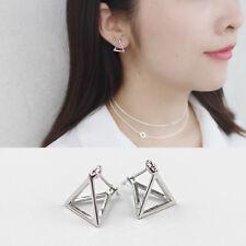 Creolen Dreieck Pyramide echt Sterling Silber 925 geometrisch Ohrringe Kreolen