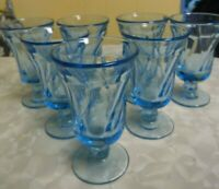 7 Fostoria Jamestown Ice Blue Swirl Footed Juice Glasses