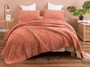 DaDa Bedding Terracotta Orange Earthy Rustic Soft Velour Corduroy Bedspread Set
