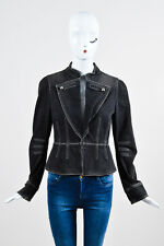 Marc Jacobs Gray and White Denim Stone Wash Military Peplum LS Jacket SZ 6