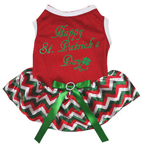 Happy S.Patrick's Day Red Top Red White Green Chevron Tutu Pet Dog Puppy Dress