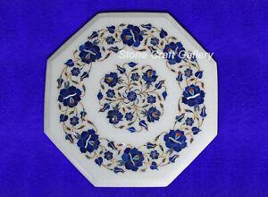 "15"" Marble Corner Table top handmadeLapis inlay semi precious stones Work"
