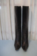JIMMY CHOO Brown Leather Pointed Round Toe Heeled Knee High Boots  Size 37