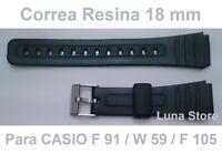 Correa De Goma Para Reloj CASIO F 91 / W 59 / F 105 - 18 mm - Repuesto