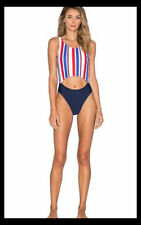 NWT Motel Red White Blue Deck Stripe Cinch One Piece Swimsuit Cut Out M Revolve!